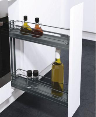 Storage basket set, CW=150 mm, 90°, Vauth Sagel VS SUB slim, lava grey
