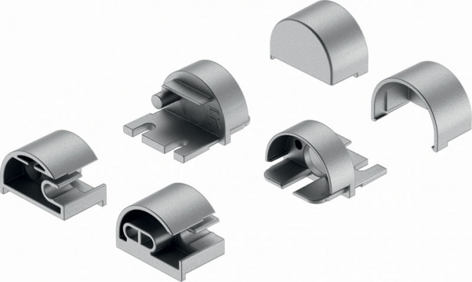End cap set, to suit Loox drawer profile, silver