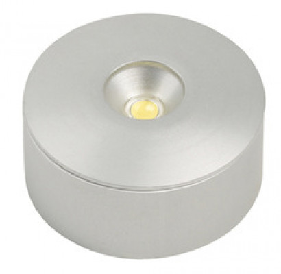 LED down light surface/recessed, 12V/1W, D=33 mm, TOP socket, warm whtie 3000 K, aluminium