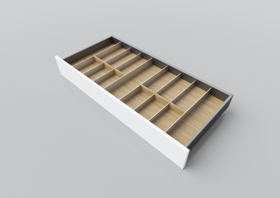 Cutlery divider for LEGRABOX/TA'OR C=950-1200 mm, NL=450 mm, oak