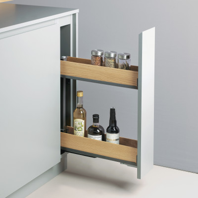 Bottle rack, SNELLO FIORO, soft close, NL=475 mm,H=520 mm, CW=150 mm, PEKA, anthracite