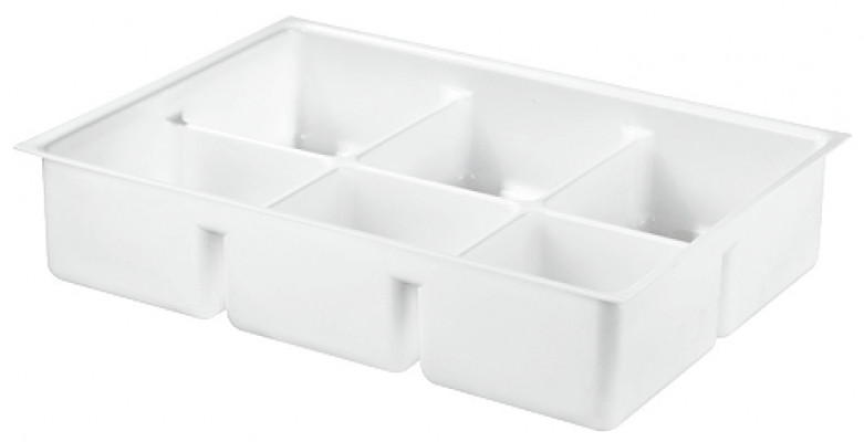 Drawer insert, deep, height 85 mm, variant-D,2.5 mm material thickness, 6 compartments