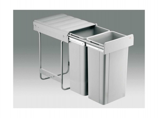 Big bio waste bin, manual, CW=400 mm, 64 litre (2x32 litres), double recycler, WESCO, grey