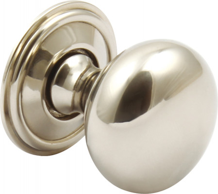 Knob, brass, › 32 mm, rugby, stainless steel effect