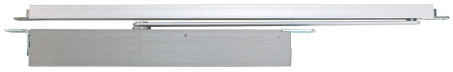 Door closer, concealed overhead, double action, without hold open, non fire rated, silver
