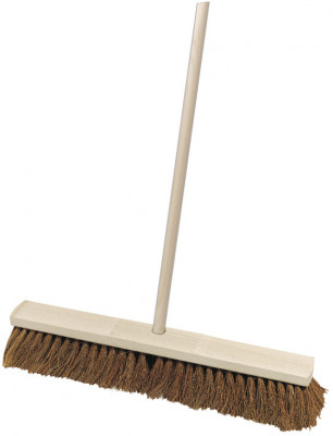 Broom, industrial, wooden, with coco bristles & handle, width 600 mm