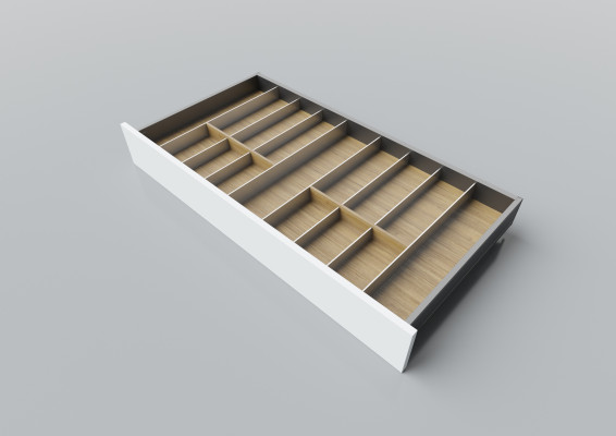 Cutlery divider for LEGRABOX/TA'OR C=950-1200 mm, NL=500 mm, oak