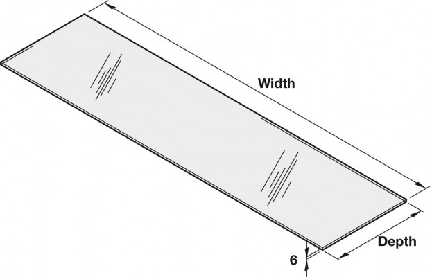 Shelf, clear 6 mm thick toughened glass, CW=600 mm