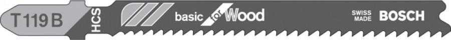 Jigsaw blade, basic, Bosch T119B, 1 pack, 5 blades