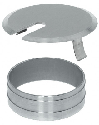 Cable outlet, Ø 60 mm, two part, outlet, sleeve & cover plate, fine ground stainless steel