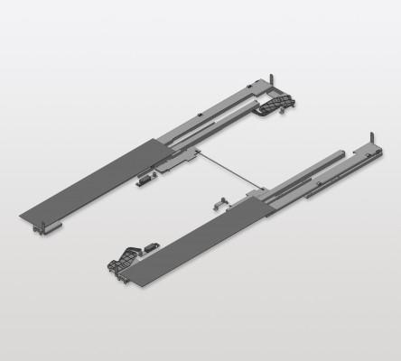 Tipmatic syncro rail for RIVERSO runner system, PEKA, aluminium