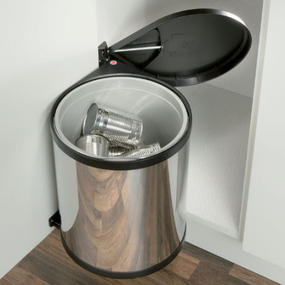 Swing-Out Waste Bin 12Ltr St.Steel/Black