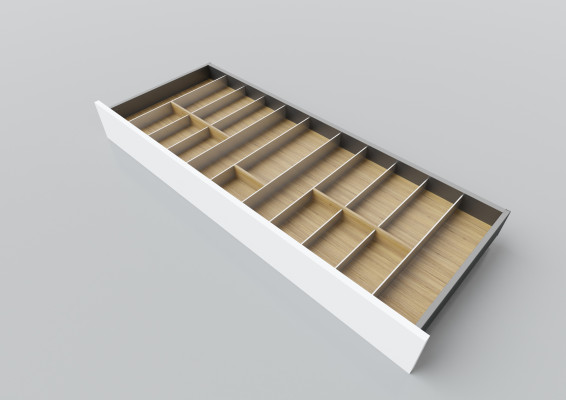 Cutlery divider for LEGRABOX/TA'OR C=1200 mm, NL=450 mm, oak