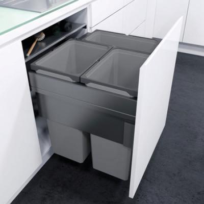 Pull out waste bin, D=515 mm, CW=300 mm, Vauth Sagel VS ENVI Space XX Pro, lava grey