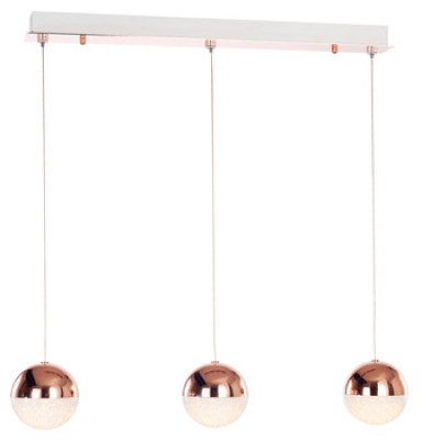 Ceiling bar pendant, adjustable, IP20, 3 Light, LED, Eclipse, mains voltage, copper