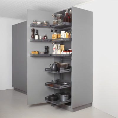 Pull out larder unit, set of drawer, PLENO PLUS LIBELL, CW=600 mm, H=1900mm, anthracite