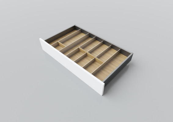 Cutlery divider for LEGRABOX/TA'OR C=700-950 mm, NL=450 mm, oak