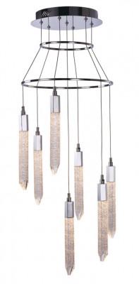 LED ceiling pendant, adjustable, IP20, 7 light, Shard, mains voltage, chrome
