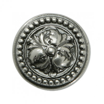 Knob, zinc alloy, Ø 32 mm, Acanthus, nickel pewter