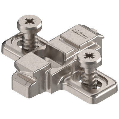 CLIP mounting plate, cruciform, 3 mm, SYSTEM SCREW, nickel
