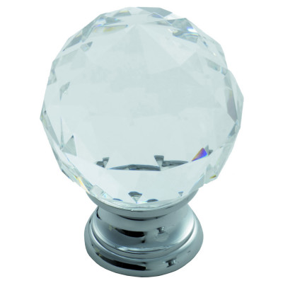 Crystal faceted knob with finished base, 40 mm, chrome
