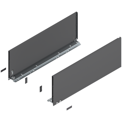 LEGRABOX drawer side, height F (241 mm), NL=650 mm, left+right, orion grey