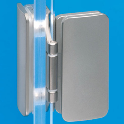 Glass door hinge, 180ø with exposed axle, for inset doors, for glass construction, snickel