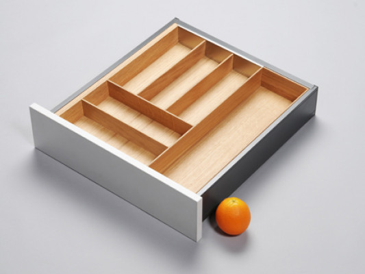 Cutlery divider for ANTARO/LEGRABOX/TA'OR C=500-600 mm, NL=500 mm, oak