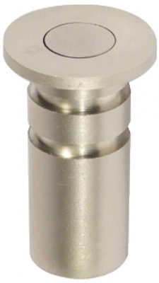 Dust excluding socket, for shoot bolts ›11 mm, brass, spring loaded plunger, satin nickel