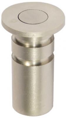 Dust excluding socket, for shoot bolts ›11 mm, brass, spring loaded plunger, satin nickel