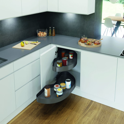 Pull out shelving unit, cabinet 800 mm,  lava grey curve shelves, CORNERSTONE MAXX, right