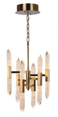 LED ceiling pendant, vertical, IP20, 12 light, 6 arm, Shard, mains voltage, gold