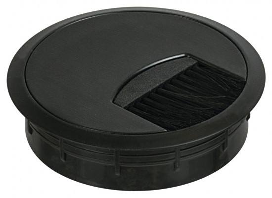 Cable outlet, Ø 80 mm, two part, with flexible brush seal, black