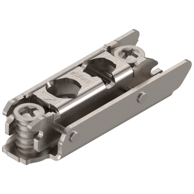 CLIP mounting plate, straight (20/32 mm), 3 mm, steel, SYSTEM SCREW, cam adjustable,nickel
