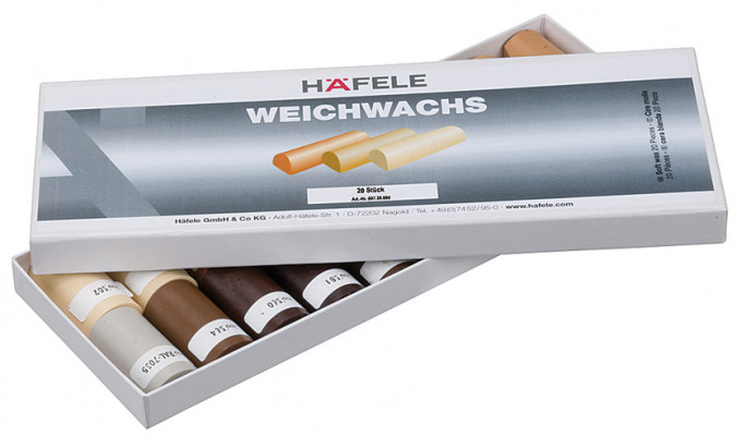"Soft wax sticks, for repair work, 20 half sticks in a box, h""fele, furniture shades"
