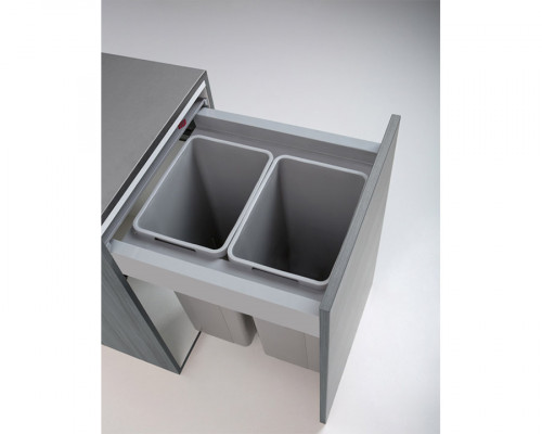 Pullboy Z bin, lids & frame for LEGRABOX, CW=600 mm, 58 litre (2x29 litre), WESCO, grey