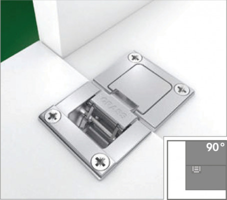 Flap hinge, 90°, for flaps up to 21 mm thickness, tiomos, night