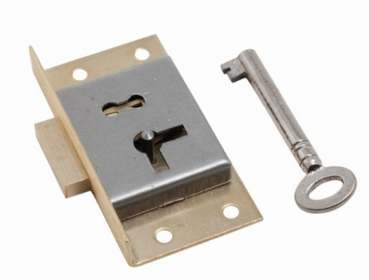 "Cut cupboard lock (left), 2"", 1 lever + 1 key, brass"