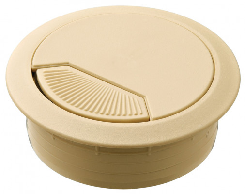 Cable outlet, Ø 60 mm, three part, plastic, sleeve & cover plate with removable, beige
