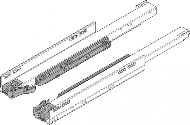 LEGRABOX cabinet profile, TIP-ON BLUMOTION, full extens., 70 kg, NL=500 mm, left+right, ZN