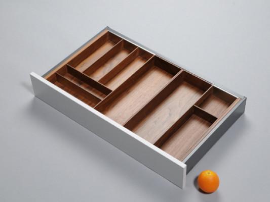 Cutlery divider for ANTARO/LEGRABOX/TA'OR C=567-930 mm, NL=500 mm, walnut