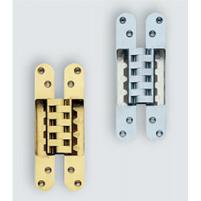 HES 3D concealed hinge, 190 mm max weight 3 pcs 50 kg with cover caps, polished brass