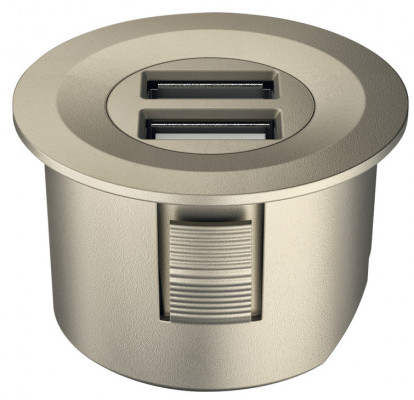 USB charging station 12V, round, Ø40 mm, modular, Loox, matt nickel