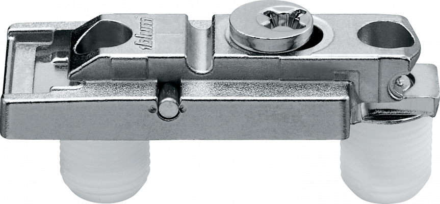 CLIP mounting plate, straight (20/32 mm), 0 mm, zinc, knock-in, cam mounting, NP