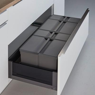 Pullboy 9XL for LEGRABOX bin & frame, CW=1000 mm, 74 litre (2x,26 2x11litre), WESCO, grey