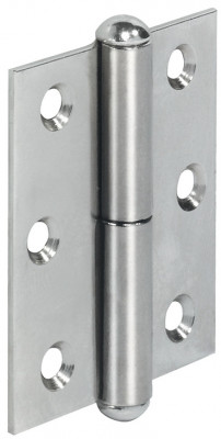 Furniture hinge, straight, rolled steel, for butting, inset or overlay doors, left, nickel