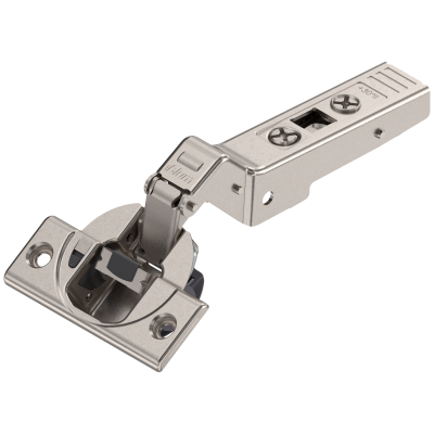 CLIP top BLUMOTION OVERLAY angled hinge for +30° applications, boss: SCREW-ON, nickel