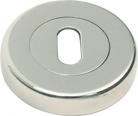 Escutcheons, for zinc alloy lever handles, standard keyway, ø 53 mm, polished/satin chrome