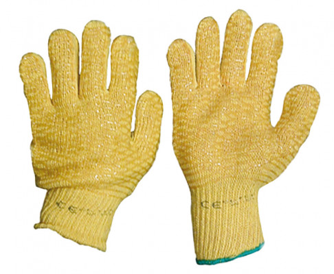 Gloves, criss cross, knit wrist, one size fits all,yellow nylon/cotton