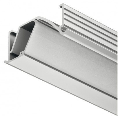 Aluminium profile, for flexible strip, angled profile, recess mounting, D=14 mm, frost